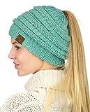 C.C BeanieTail Soft Stretch Cable Knit Messy High Bun Ponytail Beanie Hat, Mint Metallic
