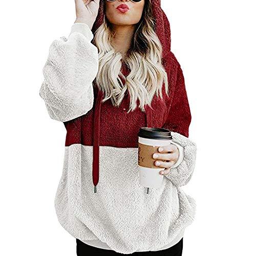 (Bibowa Womens Fuzzy Fleece Pullover Casual Loose Sweatshirt Hooded Outwear Wine Red S)