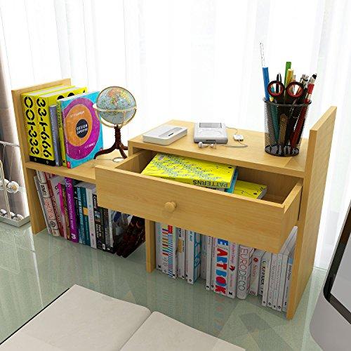 Bestwoo Small Desktop Bookshelf Organizer Storage Rack With Drawer Wooden