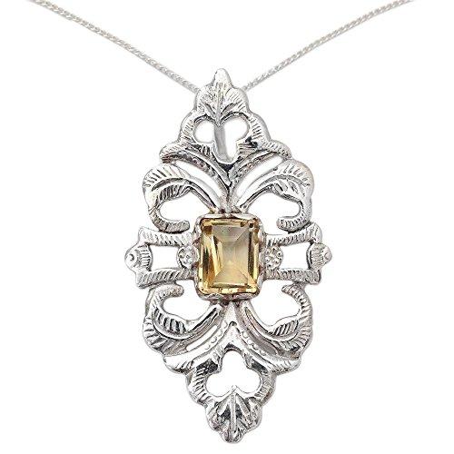 NOVICA Citrine .925 Sterling Silver Pendant Necklace, 18