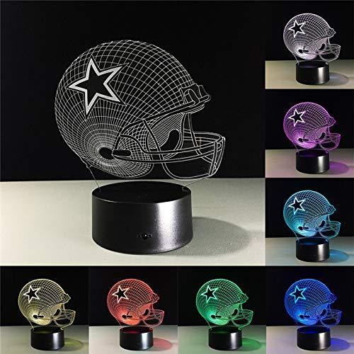 - kkkmb Dallas Cowboys Helmet 3D Led Lamp 7 Colors Change Acrylic USB Led Lamp Kids Gift Night Lamp