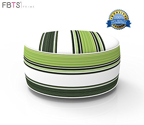 FBTS Prime Outdoor Inflatable Ottoman Navy and Green Stripe Round Patio Foot Stools and Ottomans Suitable for Kids and Adults Portable Travel Footstool Used for Outdoor Camping Home Yoga Foot Rest