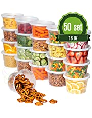 Plastic Food Storage Containers with Lids - 50 Pack