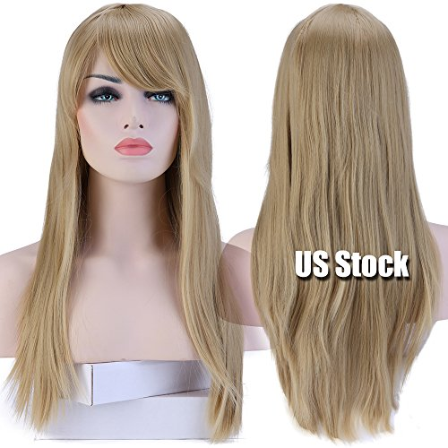 S-noilite Cosplay Wigs Synthetic Heat Resistant 23 inch Long Wavy Wigs With Wigs Cap For Women Ash Blonde(23