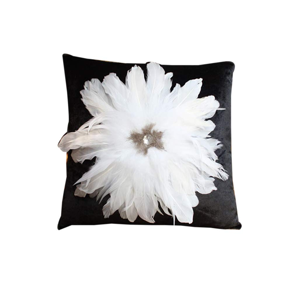 Throw Pillows Pillows Pillows Black Pillows Cushions Square Pillows Rhinestones Large Feathers White Black Living Room Sofa Pillow Cushion European Light Luxury Pillows On Beds Containing Cores