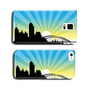 silhouette of town with sunset cell phone cover case Samsung S6