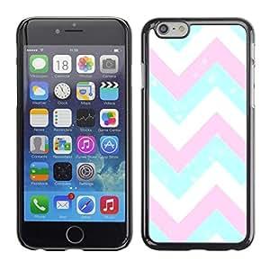 Caucho caso de Shell duro de la cubierta de accesorios de protección BY RAYDREAMMM - Apple iPhone 6 - Pink White Blue Pattern