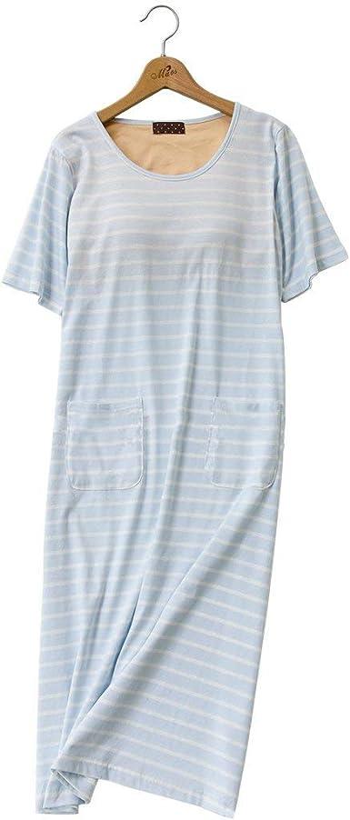 Camisón De Las Señoras De Camisón De Algodón Vintage Algodón Sujetador Acolchado Manga Corta Cuello Redondo Camisa De Dormir Moda De Verano Pijama Suelto: Amazon.es: Ropa y accesorios