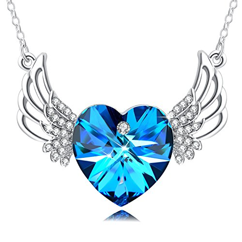 PLATO H Swarovski Element Necklace Heart Of Ocean Blue Angels Wing Guardian Heart Pendant Necklace with Swarovski Crystals, Birthday Birthstone Jewelry Gifts for Women, Blue, - Ornament Jewelry