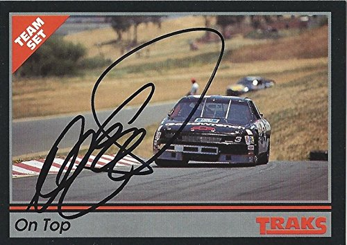 AUTOGRAPHED Dale Earnhardt Sr. 1991 TRAKS Racing ROAD COURSE (#3 Goodwrench Team) Checklist Vintage Signed NASCAR Collectible Trading Card with - Road Dale