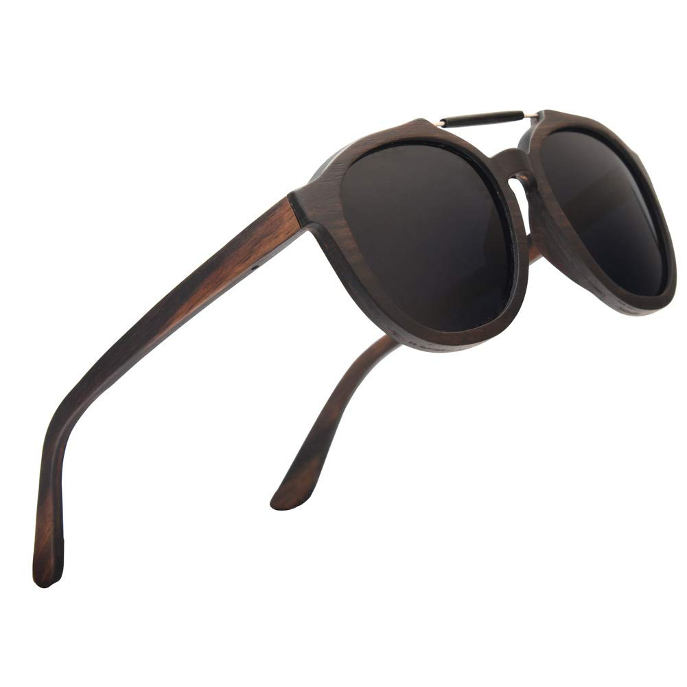 Ablibi Polarized Mens Black Shades Women Round Eyewear UV400 in Wood Case Wooden Sunglasses