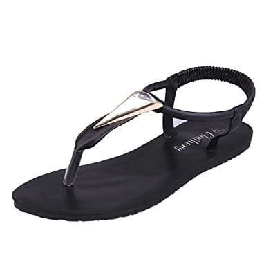 Summer Sandals Inkach Women Diamonds Bohemia Sandals Peep-Toe Outdoor Flat Shoes