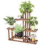 Wooden Plant Stand Shelf 5 Tier Flower Pot Holder Multi-Shelvings Storage Rack for Plants Displaying Home Garden Patio Corner Outdoor Indoor