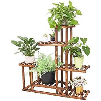 Wooden Plant Stand Shelf 5 Tier Flower Pot Holder Multi-Shelvings Storage Rack for Plants Displaying Home Garden Patio Corner Outdoor Indoor