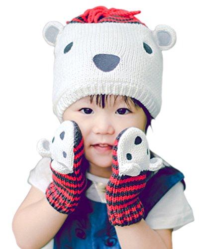 Todders Kids Little Boys Girls Cute Bear Hat Cap/Glove Knitted Winter Warm Set (Kids Graduation Hat)