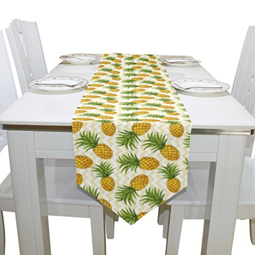 Naanle Double-Sided Chevron Pineapple Polyester Table Runner 13 x 90 Inches Long Yellow Table Top Decoration ()