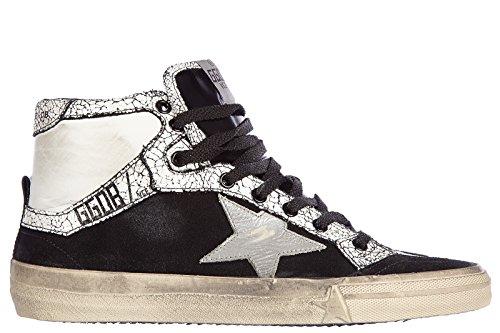 Golden Goose chaussures baskets sneakers hautes homme en cuir 212 vintage noir