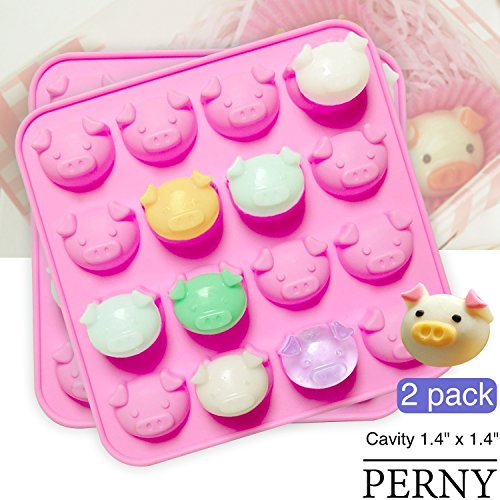 PERNY Pig Molds, Silicone Mold for Chocolate, Candy, Soap Etc, Pack of 2 (Pig Chocolate Mold)
