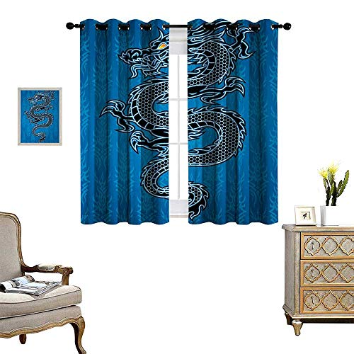 Japanese Dragon Thermal Insulating Blackout Curtain Black Dragon on Blue Tribal Background Year of The Dragon Themed Art Patterned Drape for Glass Door W63 x L45 Blue Black White