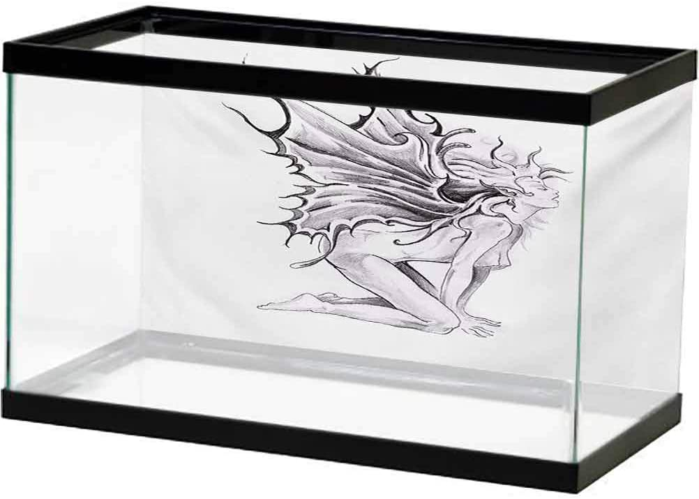 ScottDecor Tattoo Undersea Backdrop for Photography Artistic Pencil Drawing Artwork Print Nude Fairy Opening its Angel Wings Print PVC Adhesive Black and White L36 X H20 Inch