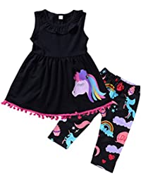 28b189804a51 2-7T Toddler Girls Pony Seeveless Shirt Tops + Cropped Pants Outfits  Clothes Set (