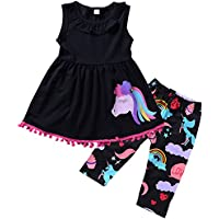 2-7T Toddler Girls Pony Seeveless Shirt Tops + Cropped Pants Outfits Clothes Set