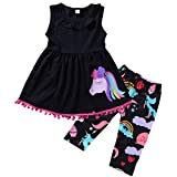 Ant-Kinds 2-7T Toddler Girls Pony Seeveless Shirt Tops + Cropped Pants Outfits Clothes Set (3-4T, Black)