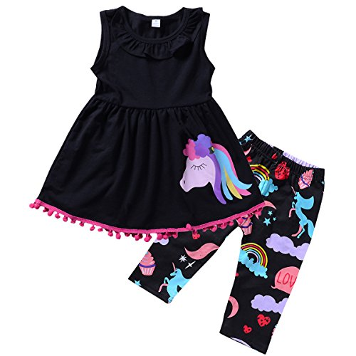 Ant-Kinds 2-7T Toddler Girls Pony Seeveless Shirt Tops + Cropped Pants Outfits Clothes Set (6-7T, Black) (7 Cropped)