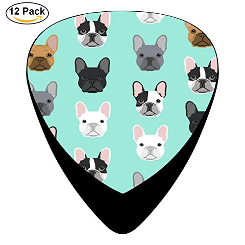 Pimalico Classic French Bulldog Sweet Dog Design Picks (12 Pack, ) for Electric Guitar, Acoustic Guitar, Mandolin, and Bass / Black