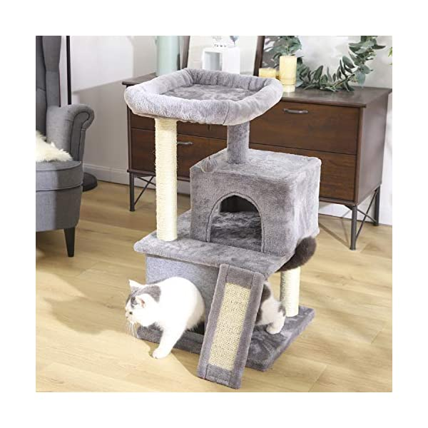 PAWZ Road Cat Tree Luxury Cat Tower with Double Condos, Spacious Perch, Fully Wrapped Scratching Sisal Posts and Replaceable Dangling Balls 7