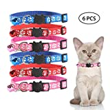 Kobwa Reflective Cat Collar Bell, 6 PCS Beautiful Cat Breakaway Collars, Safe Adjustable Nylon Strap to Fit All Cats & Larger Kittens