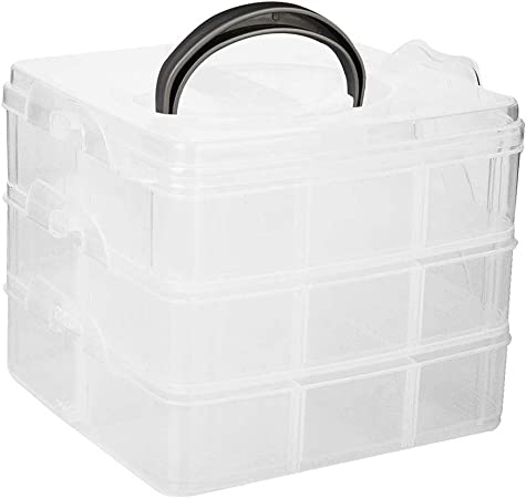 ultnice caja joyas plástico caja de 3 capas con tapa y 18 separadores Almacenamiento para costura/calcetines/joyas/cocina portátil (transparente): Amazon.es: Hogar