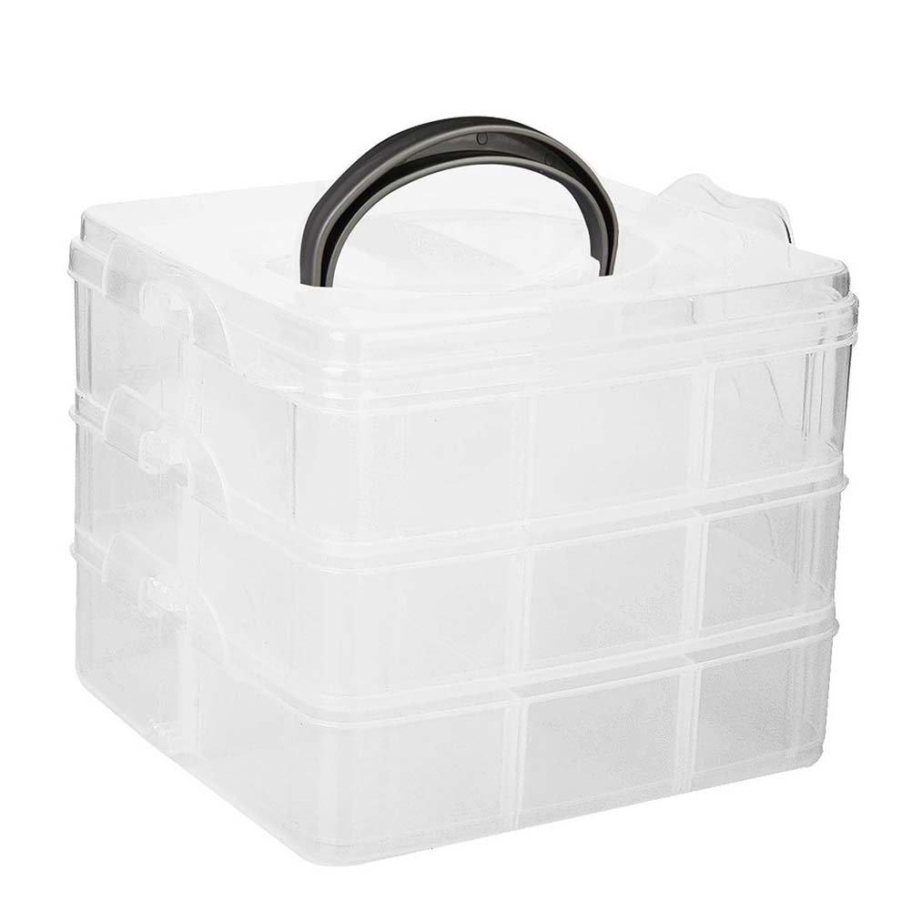 rosenice Caja Caja con compartimentos y asa Joyero transparente