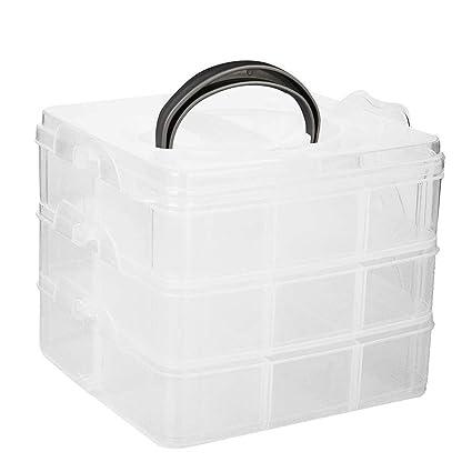 ULTNICE Caja de almacenamiento de joyas Caja de compartimiento transparente con separadores extraíbles (3 capas