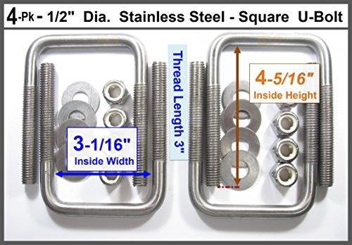 (4) Stainless Steel Square U-Bolts Boat Trailer U bolt Ubolt 1/2