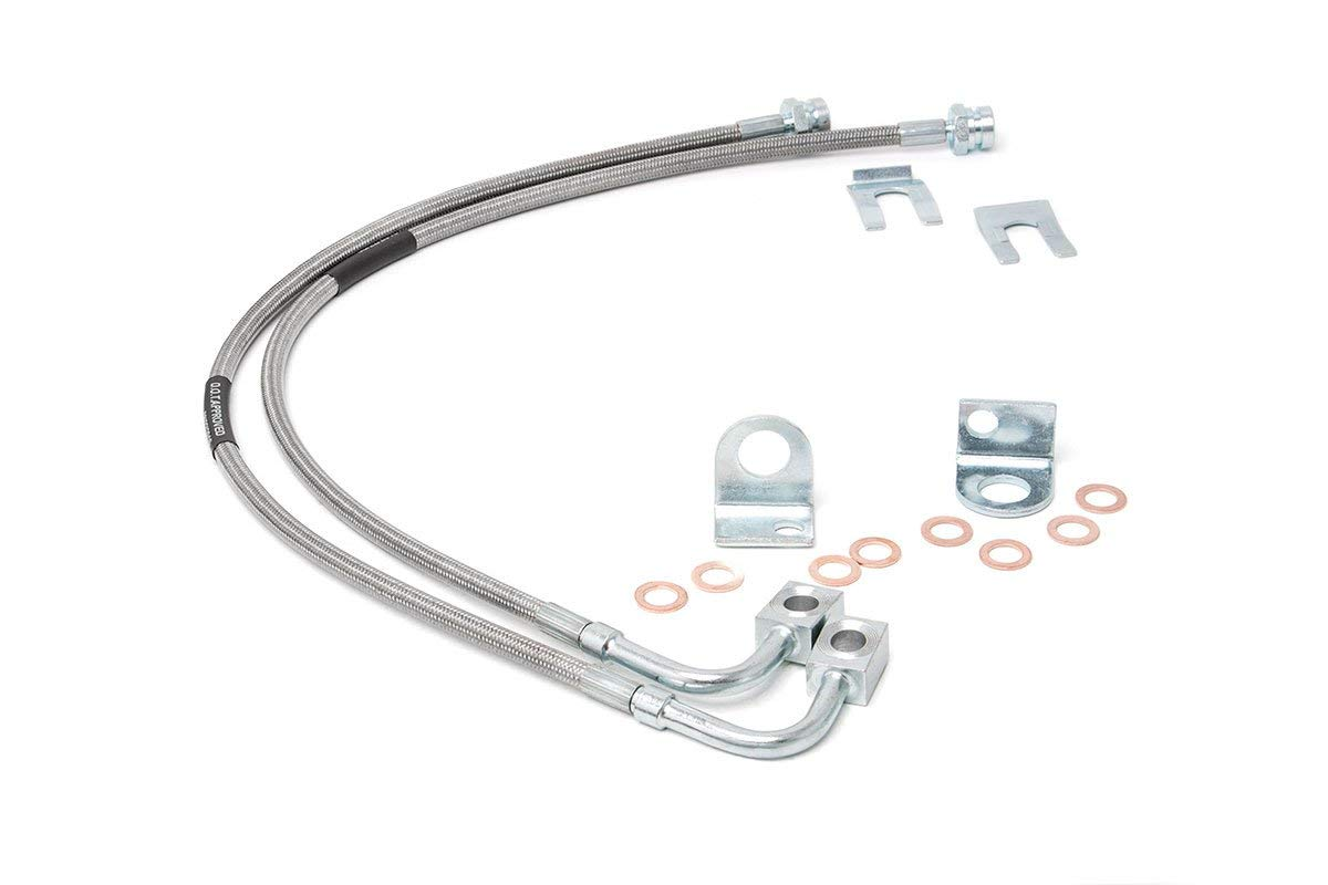 89707 Rough Country 07-18 Wrangler JK 4WD, Front Extended Stainless Steel Brake Lines for 4-6-inch Lifts for Jeep