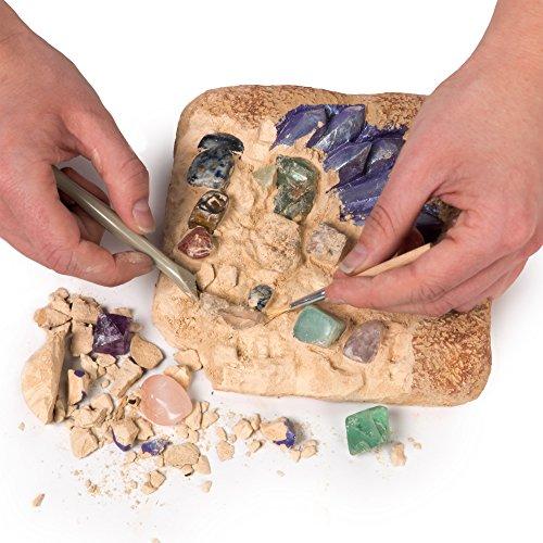 51VzKerEauL - NATIONAL GEOGRAPHIC Mega Gemstone Dig Kit-Excavate 15 real Gems including Amethyst, Tiger's Eye and Quartz