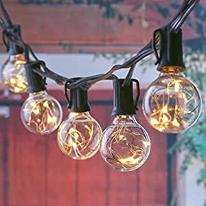 25Ft LED G40 String Lights with 25 LED Warm Globe Bulbs-UL Listed for Indoor/outdoor, Patio Lights, Backyard Lights, outdoor bulb string lights, black wire