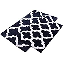 "Bath Bed Decor, (2 Piece) Bathroom Rug Set with Non-skid Backing Trellis Accent in Plush 2200 GSM Microfibre Heavy Sturdy Construction Hand Tufted (21"" x 34"" & 17"" x 24""; Navy Blue & White)"