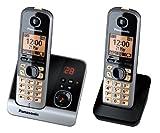 Panasonic KX-TG6722GB Duo Schnurlostelefon (4,6 cm (1,8 Zoll) Display, Smart-Taste, Freisprechen, Anrufbeantworter) schwarz