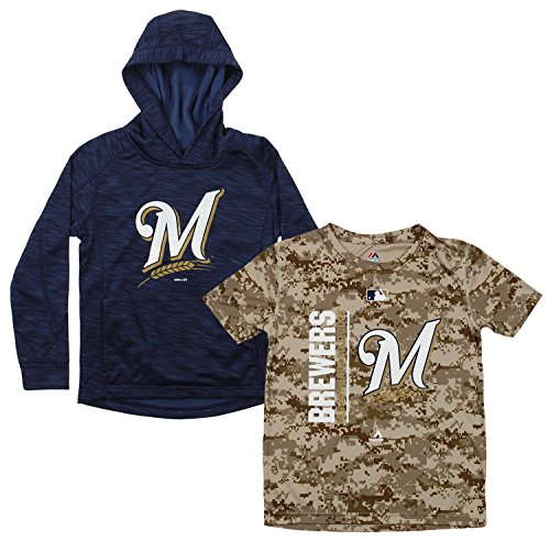 Milwaukee Brewers Team Fleece - Outerstuff MLB Youth Primary Icon Hoodie and Tee Combo, Milwaukee Brewers Medium (10-12)