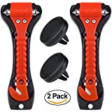 Car Safety Hammer Set of 2, Window Breaker, Seatbelt Cutter, Emergency Escape Tool, Multi-Purpose Life-saving Auto Emergency Hammer with Phone Holder (Red-2Phone holders)