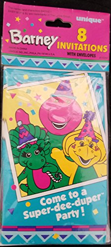 Invitations Barney (Barney Baby Bop Party Birthday Invitations Invite Treats Decoration 8PC)