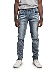 Victorious Mens Skinny Fit Stretch Raw Denim Jeans