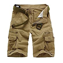 Allonly Men's Cotton Slim Fit Multi-Pocket Cargo Shorts Above Knee Zippers