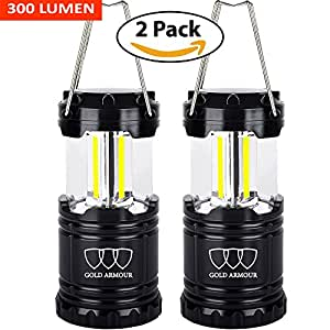 Brightest Camping Lantern - LED Lantern (EMITS 300 LUMENS!) - Camping Equipment Gear Lights for Hiking, Emergencies, Hurricanes, Outages, Storms (2Pack, Black)