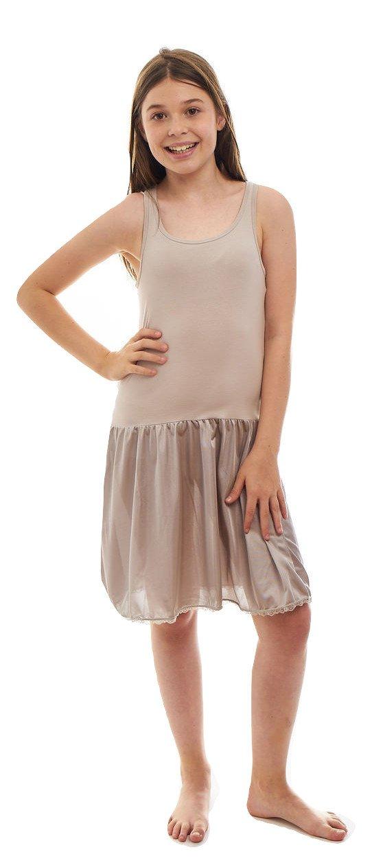 Sash Sleeveless Dress Slip With Built In Crop Top For Teen Girls - 95% Cotton, 5% Lycra Top (8, Grey)