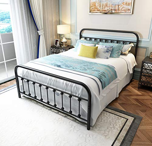 TEMMER Black Metal Bed Frame Queen Size with Headboard and Footboard Single Platform Mattress Base,Metal Tube and Iron-Art Bed(Queen,Black)