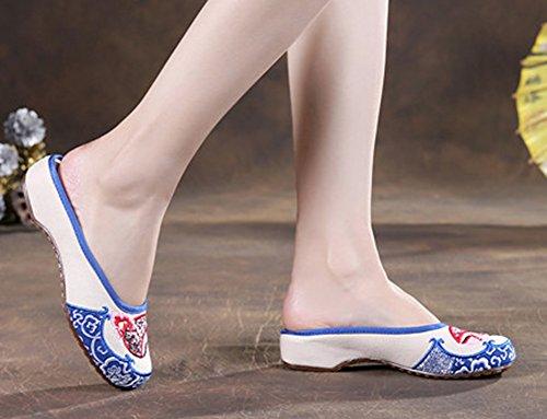 Avacostume Schoonheid Gezicht Geborduurde Flats Dames Slippers Loafers Wit