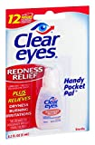 Clear Eyes Hand Pocket Pal Redness Relief Eye Drops   Relieves Drying, Burning & Irritations   0.2 Ounce, Multi